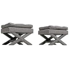 Hollywood Regency Style Grey Billy Baldwin X-Benches Ottomans, 1960s