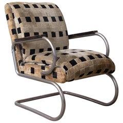 Original French Art Deco Lounge Chair and Original Soft Comfy Fabric, circa 1935
