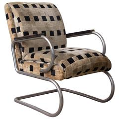 Original French Art Deco Lounge Chair and Original Soft Comfy Fabric, circa 1935