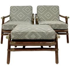 1950s Ficks Reed Eight-Piece Rattan Seating Suite by John Wisner