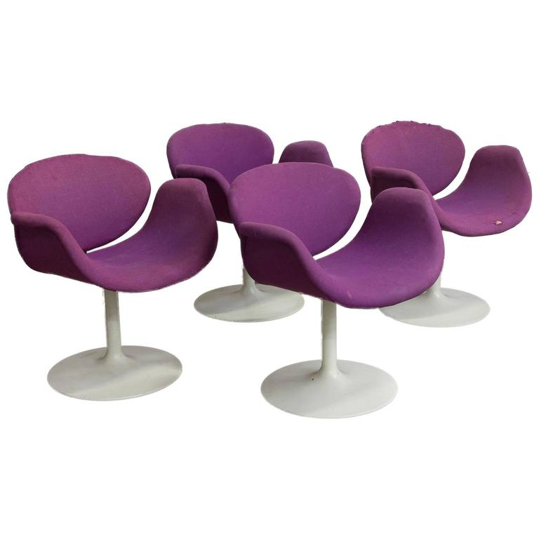 1965, Pierre Paulin for Artifort, Set Very Early Original Base and Purple Fabric