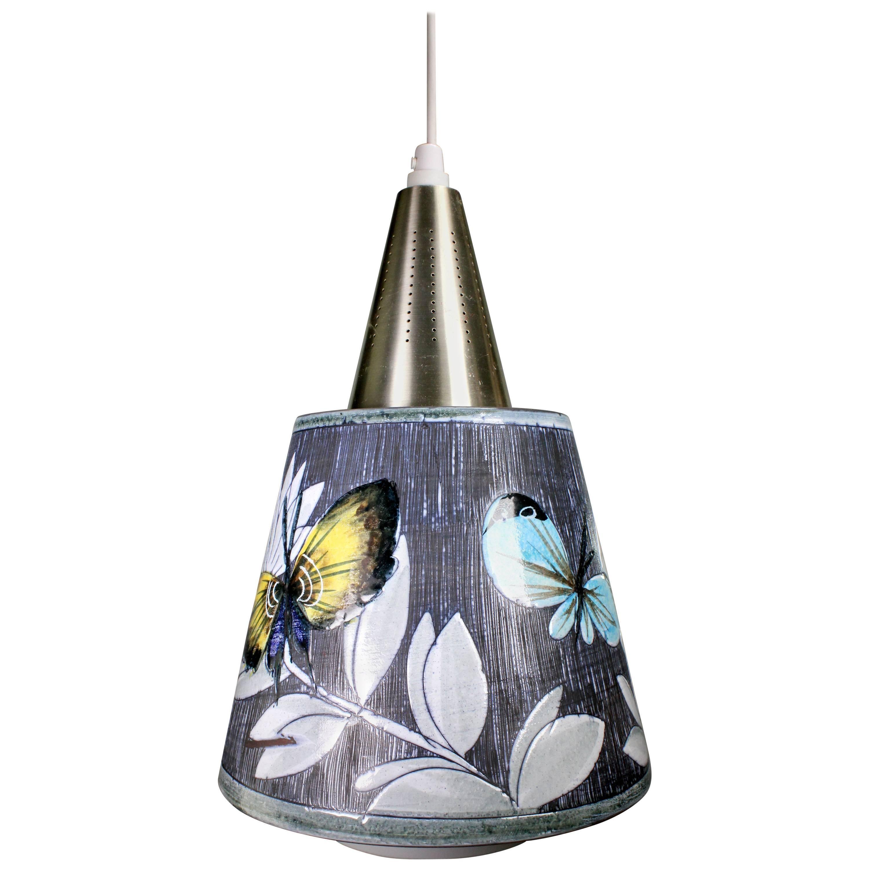 Rare Tilgmans Scandinavian Modern Ceramic and Glass Butterfly Pendant, 1960s