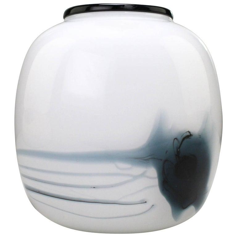 Michael Bang for Holmegaard White, Black and Blue Art Glass Atlantis Vase, 1980s For Sale