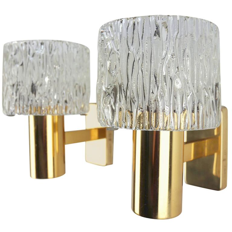 Six Carl Fagerlund for Orrefors Brass and Pressed Glass Wall Lights, 1950s