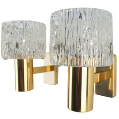 Carl Fagerlund for Orrefors Brass and Pressed Glass Wall Lights, 1950s