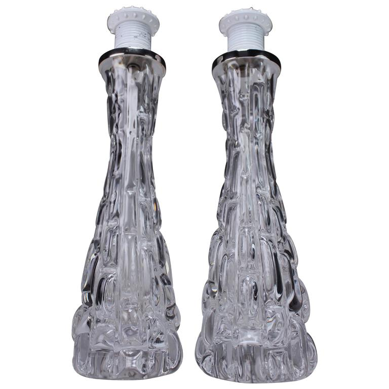Three Carl Fagerlund for Orrefors Crystal Clear Textured Table Lamps, 1960s