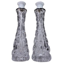 Carl Fagerlund for Orrefors Crystal Clear Textured Table Lamps, 1960s