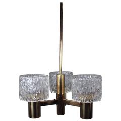 Scandinavian Modern Three-Arm Chandelier by Orrefors, 1950s