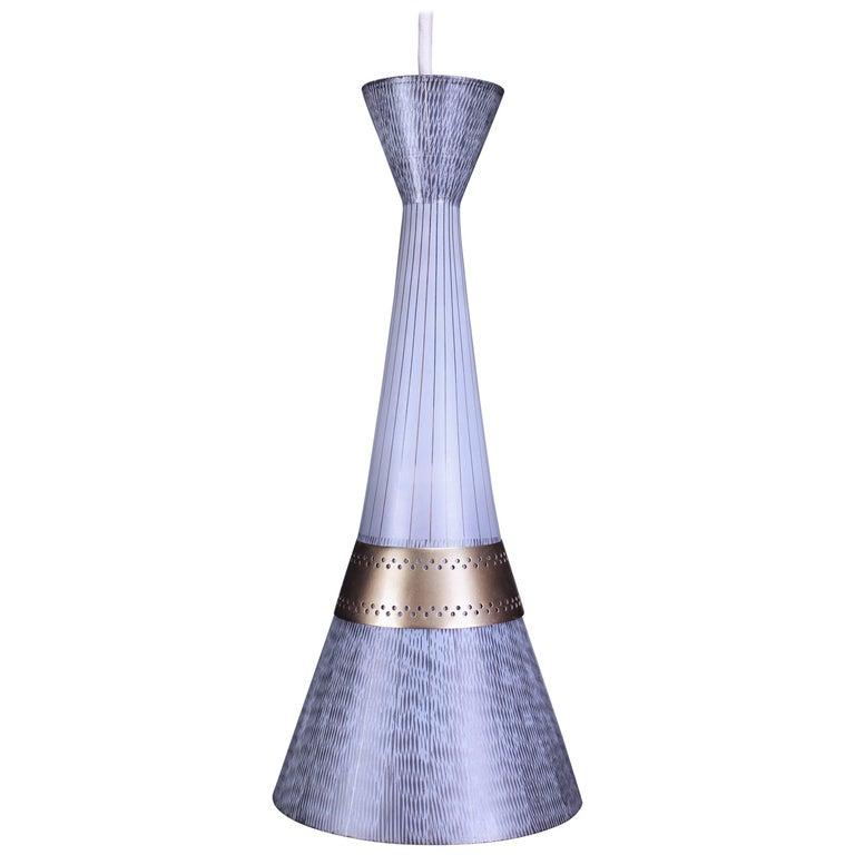 Italian Stilnovo Black and White Glass Pendant with Brass Belly, 1960s