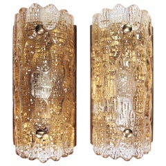 Carl Fagerlund for Orrefors Champagne Gefion Crystal Wall Sconces, 1970s