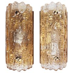 Pair of Carl Fagerlund for Orrefors Champagne Gefion Crystal Wall Sconces, 1970s