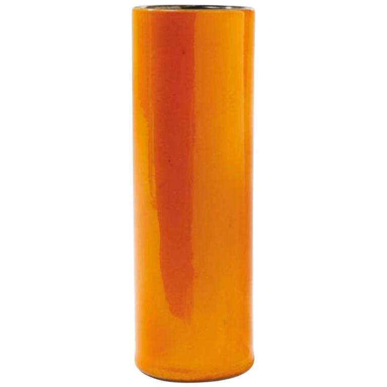 "Georges Jouve, an Orange ""Cylinder"" Vase, circa 1960"