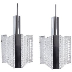 Pair of Kaiser Leuchten Modern Textured Glass and Chrome Pendants, 1960s
