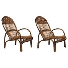 Pair of Italian 1970s Wicker Lounge Chairs