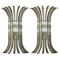 Two Murano Triedri Sconces, Clear with Black Filigree, Large and Unique