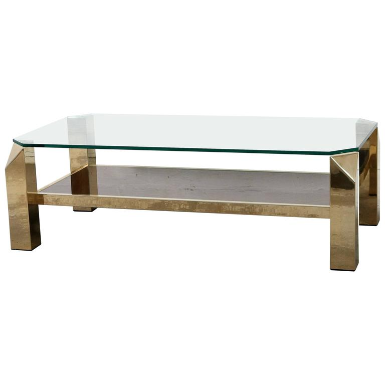 Gold Plated Coffee Table: Belgo Chrome Gold-Plated Coffee Table At 1stdibs