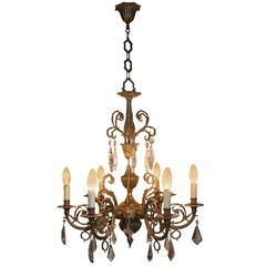Antique Six-Light Bronze and Crystal Chandelier, circa 1930s