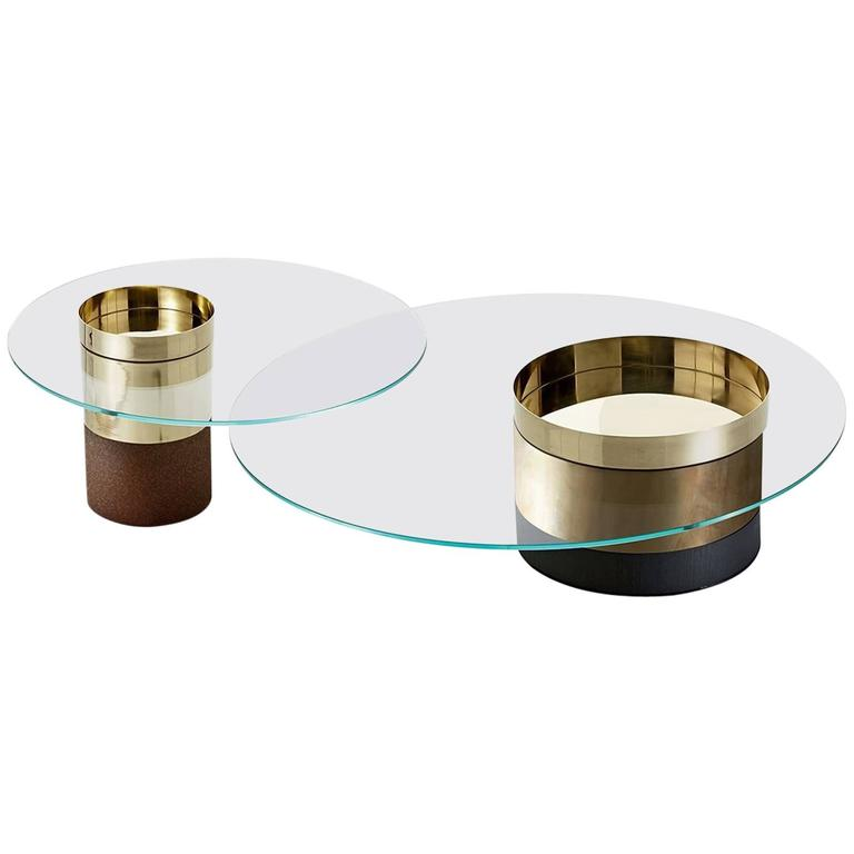 Gallotti and Radice Haumea Coffee and Side Tables in Glass, Wood and Metal