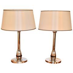 Pair of 1950s Chromed Steel and Bakelite Lamps