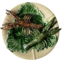 19th Century Majolica Palissy Crawfishs Wall Platter
