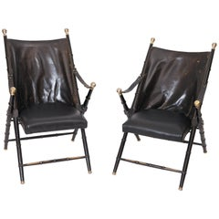 Pair of leather Campaign Chairs