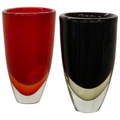 Romano Dona, Pair of Double Sommerso Vases, circa 2005, Massiccio