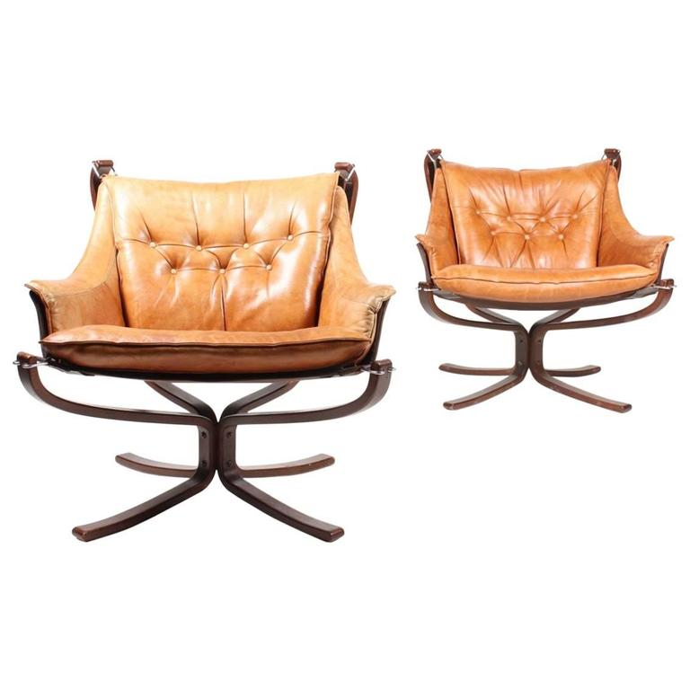 Pair of Falcon Lounge Chairs by Sigurd Ressell