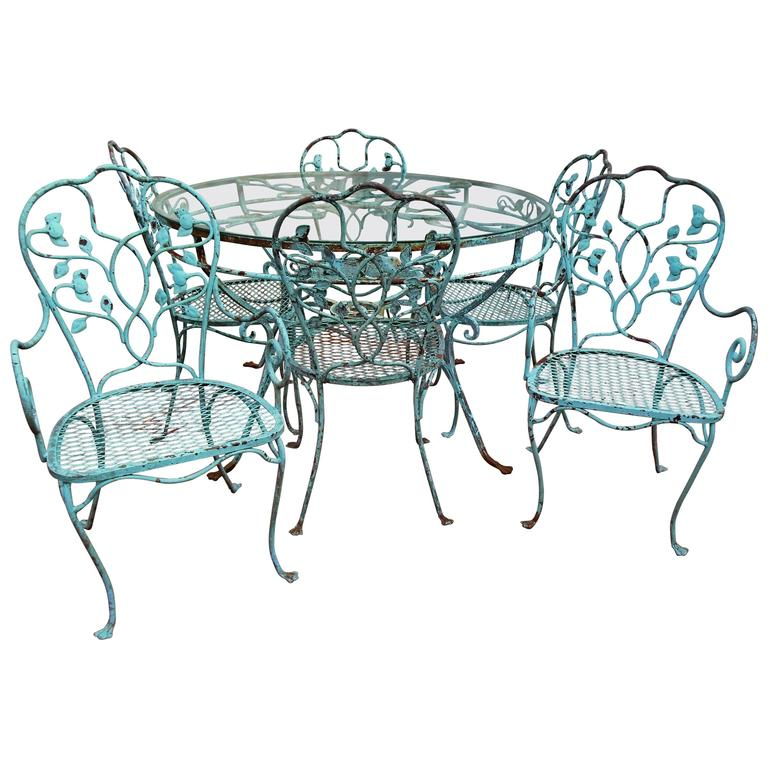 Salterini Seven Piece Wrought Iron Dining Set For Sale