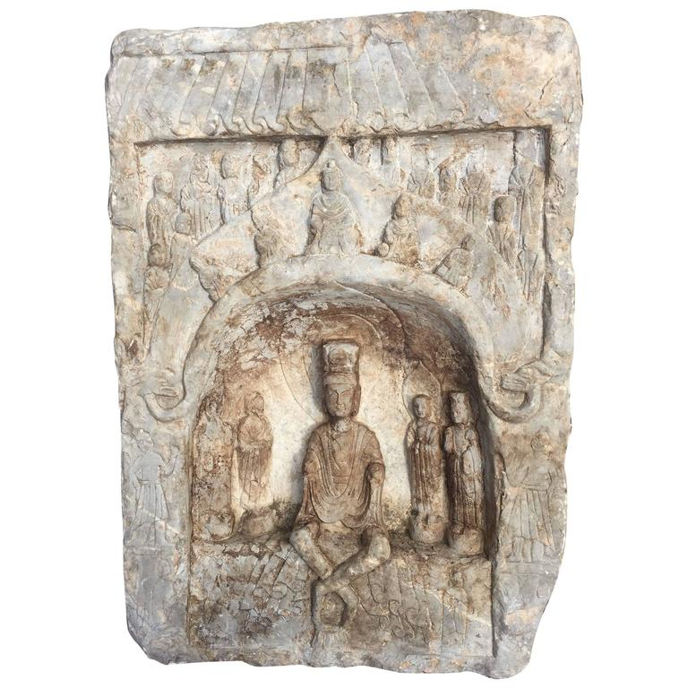 Chinese Large Old Stone Buddha Ornament, Private Family Shrine For Sale
