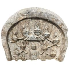 12 Buddha Antique Garden Stone Ornament Old Chinese Collection