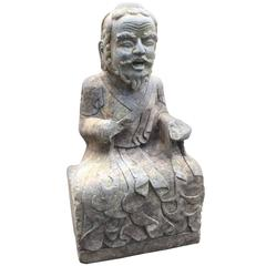 Large Chinese Old Stone Buddhist Bearded Bodhidharma Hand-Carved Figure