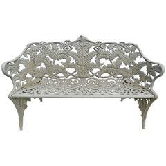 Garden Bench, Fern Pattern, Antique Cast Iron