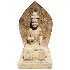 Chinese Antique Large Seated Stone Buddha Guan Yin with Inscription
