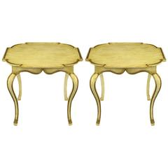 Pair of Minton-Spidell Parcel Gilt and Glazed Ivory Cabriole Leg End Tables