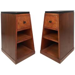Pair of Art Deco Style Pyramid Shaped Walnut and Burl Nightstands