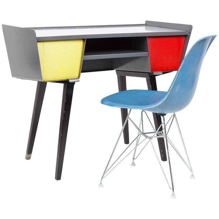 PROUVE STYLE METAL DESK with drawers in happy colors,  Vd Meeren Style