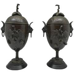Pair of 19th Century Bronze Urn Vases with Naturalistic Decor