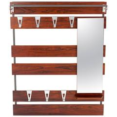 COAT RACK ART DECO with Mirror and aluminum hooks