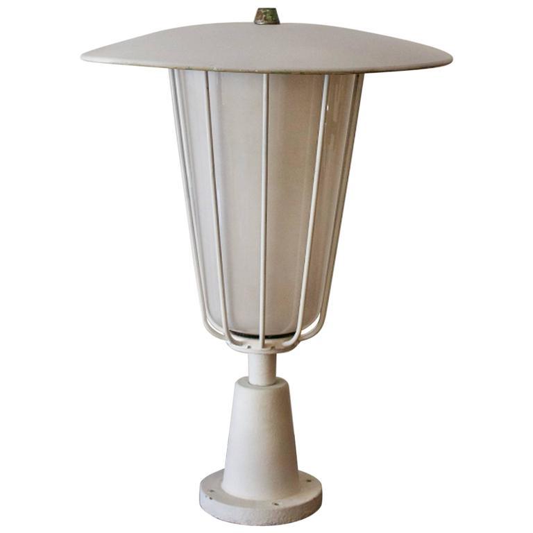 Large Garden Lantern with Opaline Glass Shade, 1950s