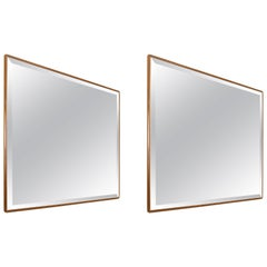 Pair of Square Bronzed Mirrors Wood Frame