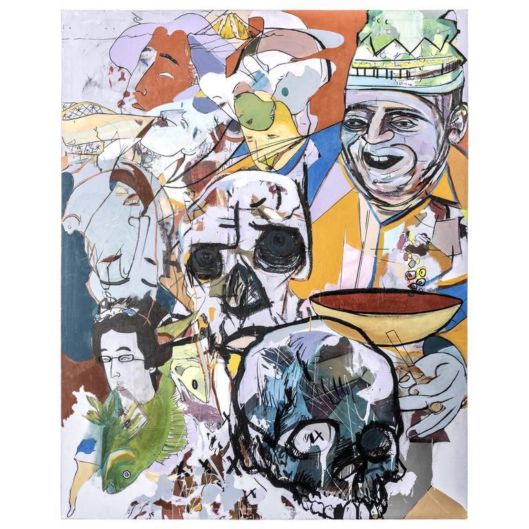"""Andrew Blake """"4-Eyes"""" Acrylic on Canvas"""