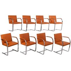 Set of Eight Flat Bar Brno Chairs by Mies Van Der Rohe for Knoll