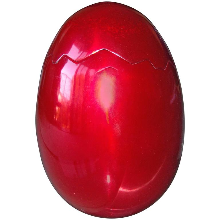 """Jeff Koons """"Cracked Egg"""" Red Aluminum Anodize Box Sculpture, BCAM For Sale"""