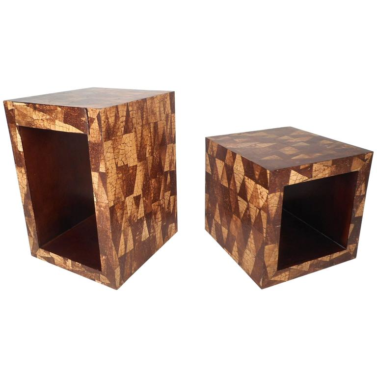 Mid-Century Modern Augousti Style Coconut Shell Inlay End Tables For Sale