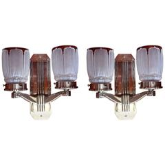 Pair of Art Deco Silver Plated Walllights with Frosted Glass Shades