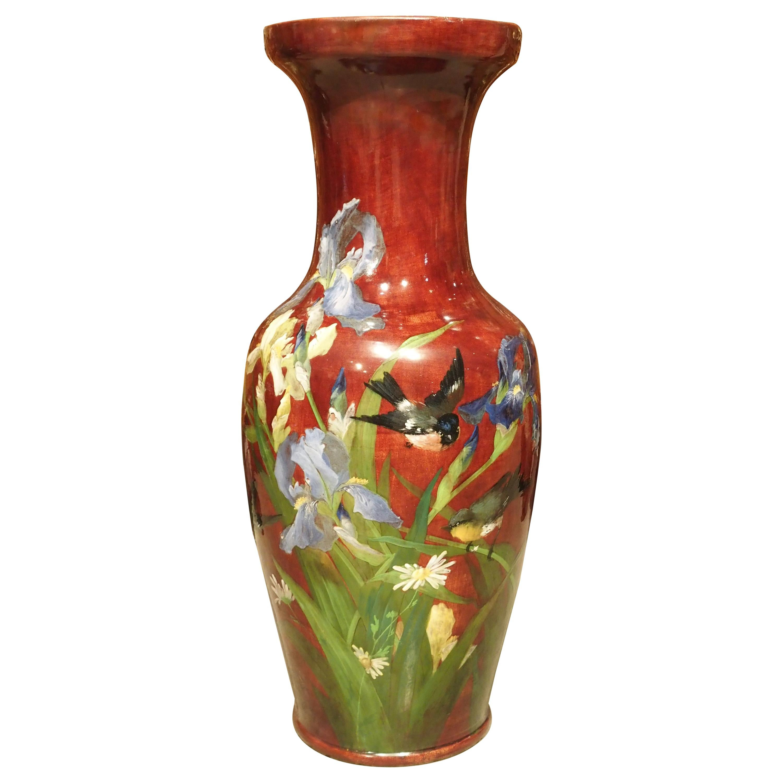 Grand Antique French Barbotine Vase, Parisian School, Late 1800s