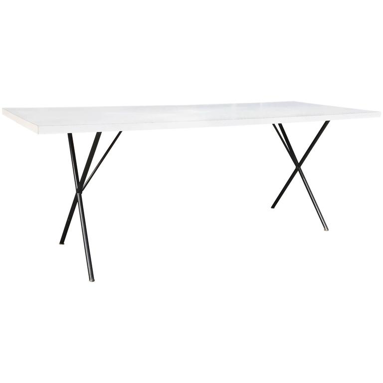 George Nelson for Herman Miller White Laminate X Legs Dining Table