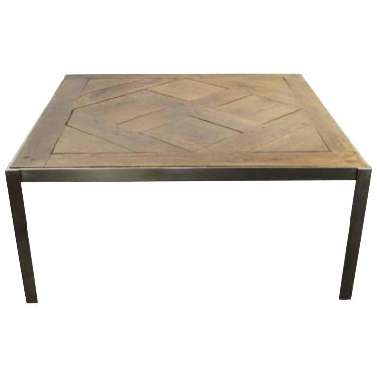 Repurposed Wood and Metal Cocktail Table For Sale