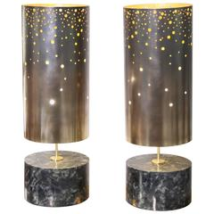 Pair of Table Lamps in Spectrolite and Brass, Model Cassiopée by Arriau
