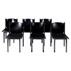 Six Black Lacquer & Leather 'Caprile' Chairs by G.F. Frattini for Cassina, 1985